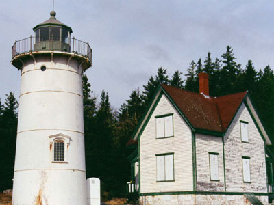 A view of Little River Light Station prior to ALF stepping in to restore the historic structures.  (FLRL photo)