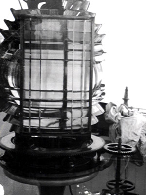 A view of the fifth order Fresnel lens that was in place at Little River for many years.  (USCG photo)