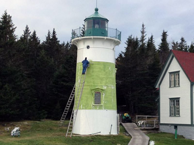 Little River Lighthouse was prepped, primed and repainted during an important 2014 maintenance project.  (FLRL photo)
