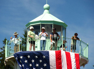 Visitors enjoy the view from the top of Little River Lighthouse